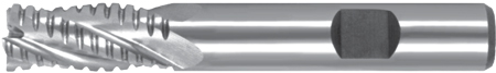 Roughing End Mills – Regular Length – Flatted Shank – Flat Crest – HSS-Co8