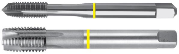 Machos de roscar a máquina con punta helicoidal dormer (gun nose) de banda amarilla – UNC – Acabado brillante – HSSE-V3