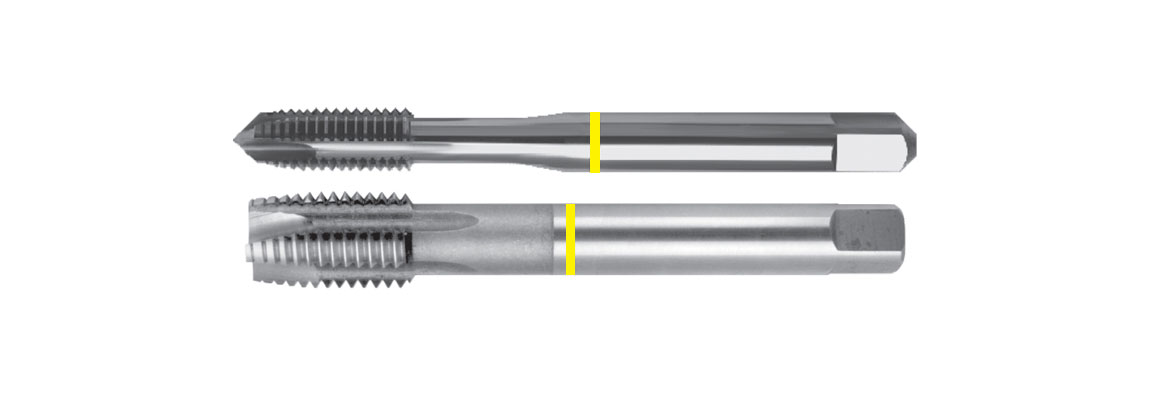 Machos de roscar a máquina con punta helicoidal dormer (gun nose) de banda amarilla – Métricas de paso grueso – HSSE-V3 – Acabado brillante
