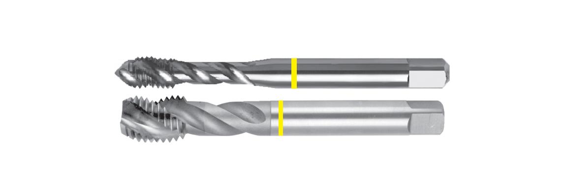 Machos de roscar ranura helicoidal banda amarilla – UNC – HSSE-V3 – Acabado brillante