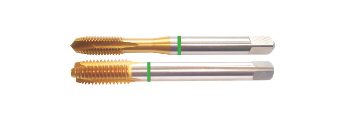 Machos de roscar a máquina con punta helicoidal dormer (gun nose) de banda verde – Métricas de paso grueso – HSSE-V3 – Revestimiento de TiN