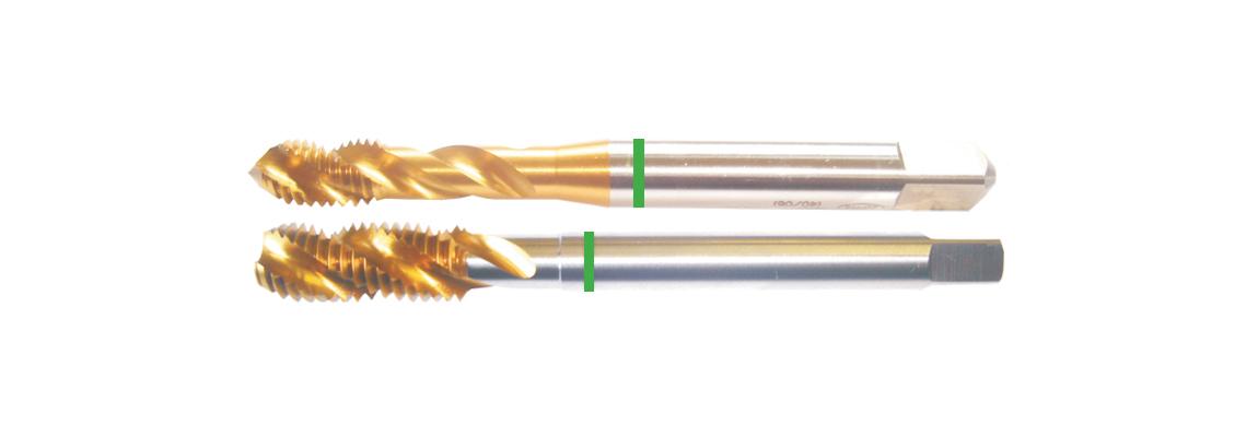 Machos de roscar ranura helicoidal banda verde – UNF – HSSE-V3 – Revestimiento de TiN