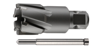 Hi-Cut Core Solid Carbide Tipped Core Drill Cutters (Sluggers) with Universal Shank and Pilot Pins