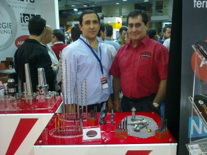 Mr Maia from the AM Tools Group and Julio Baptista from Somta Tools Portugal in front of some of Somta's tools on display.jpg