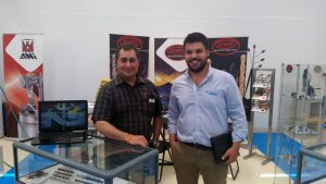 Mr João Rocha, Lusaveiro sales executive (North) and Julio Baptista at the Somta stand