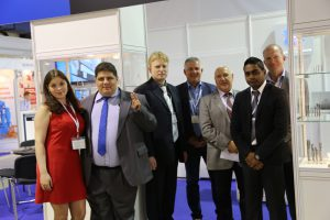 Kate , Bagrat , Dmitrii , Gunna , Vladimir , Raj and Allan in front of the OSG / Somta Stand