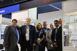 Bagrat , Dmitrii , Inga , Gunna , Vladimir , Raj and Allan in front of the OSG / Somta Stand