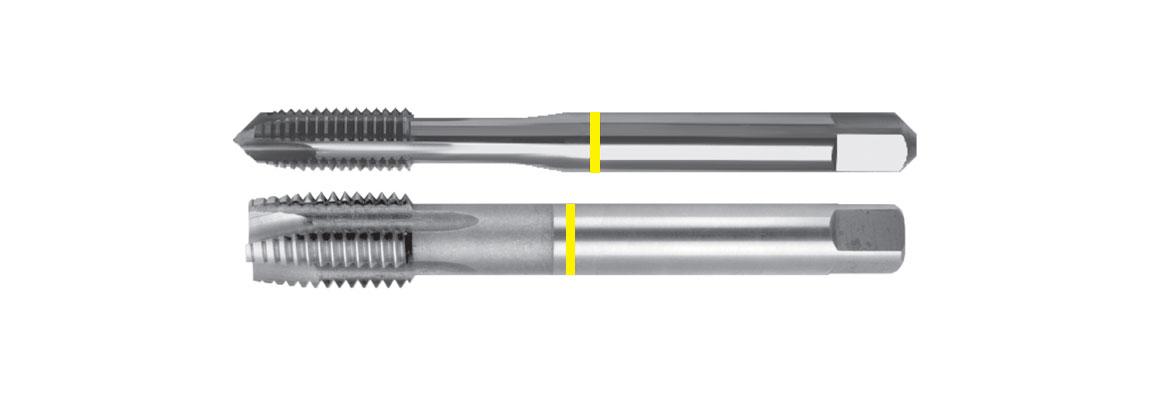 Машинные метчики с прямой стружечной канавкой и подточкой, желтая маркировка – Метрическая обычная резьба – HSSE-V3 – Шлифованный профиль
