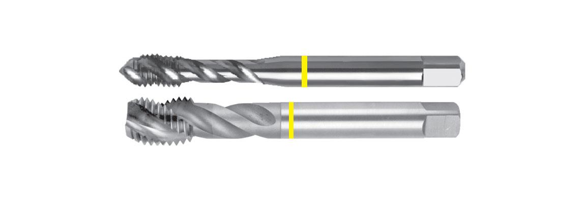 Машинные метчики со спиральной стружечной канавкой, желтая маркировка – Метрическая обычная резьба – HSSE-V3 – Шлифованный профиль